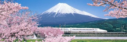 Mount fuji with bullet train