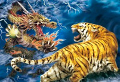 Golden tiger and dragon